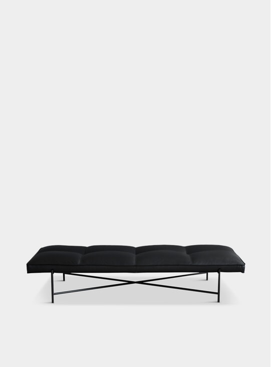 Black / Black Aniline Leather Daybed