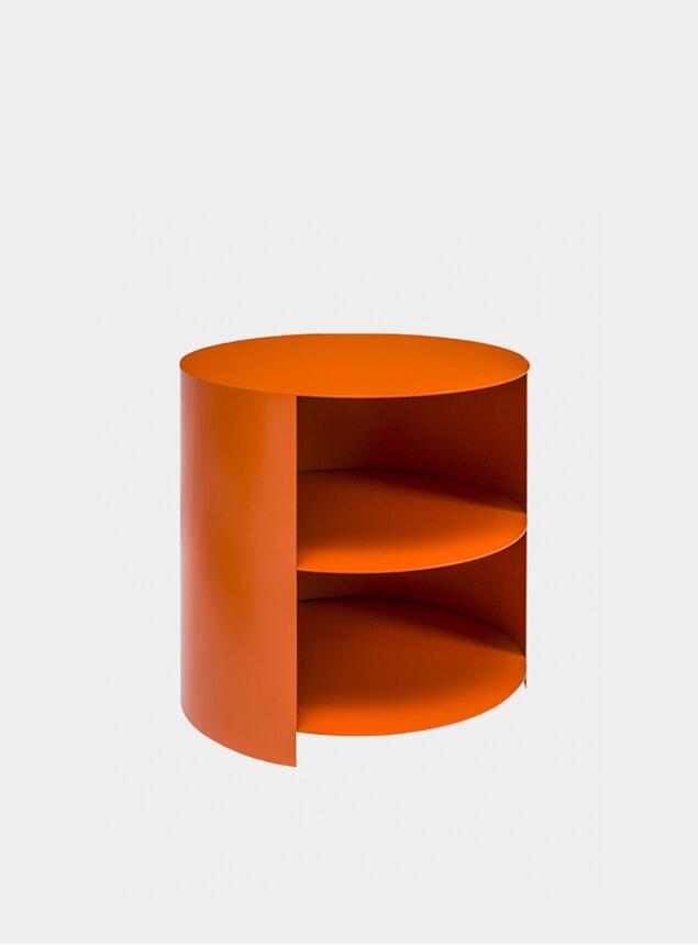 Orange Hide Side Table