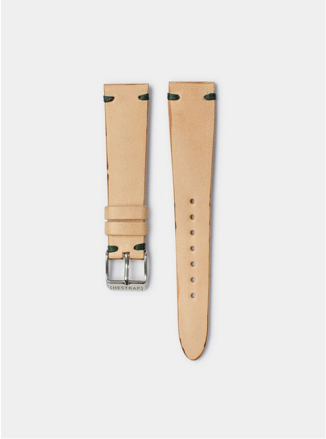 Green Stitch Natural Senna Leather Watch Strap