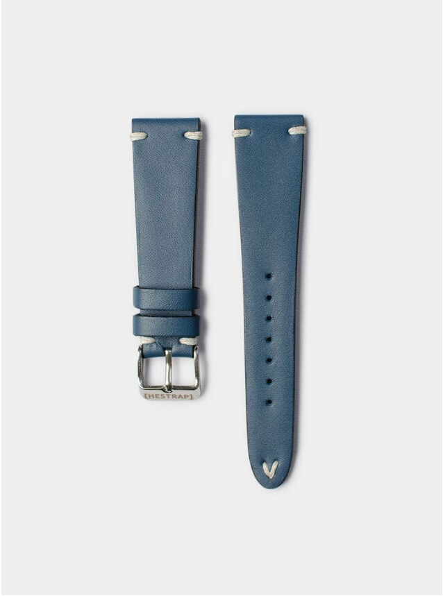 Navy Zico Leather Watch Strap