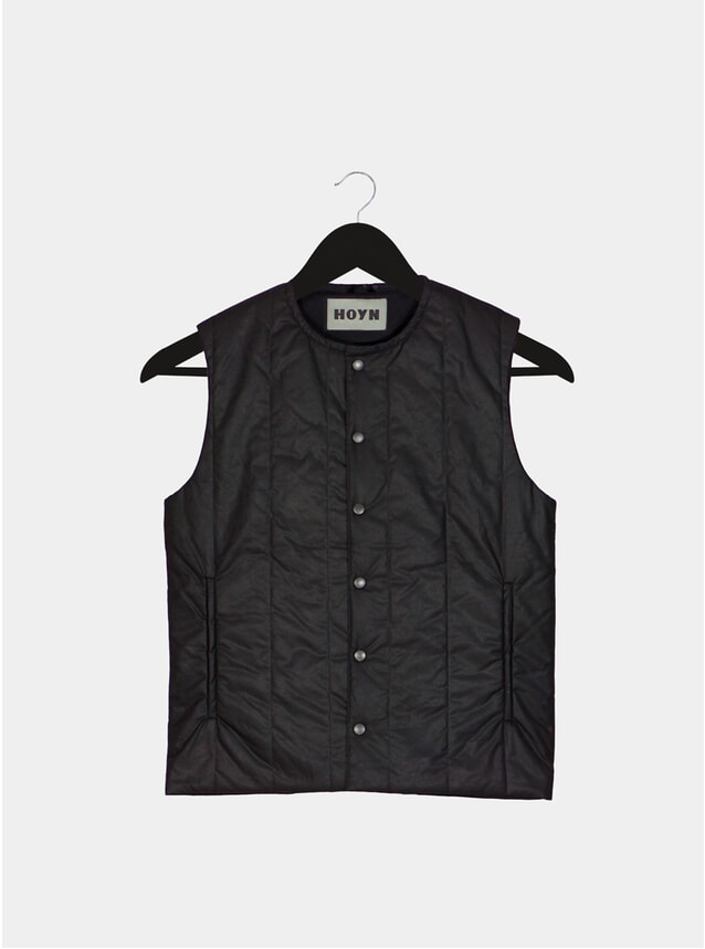 Black Padded Waxed Cotton Gilet