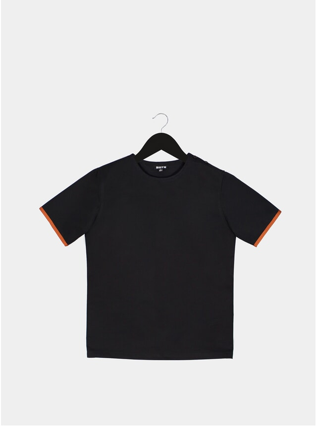Black T-Shirt With Sleeve Binding
