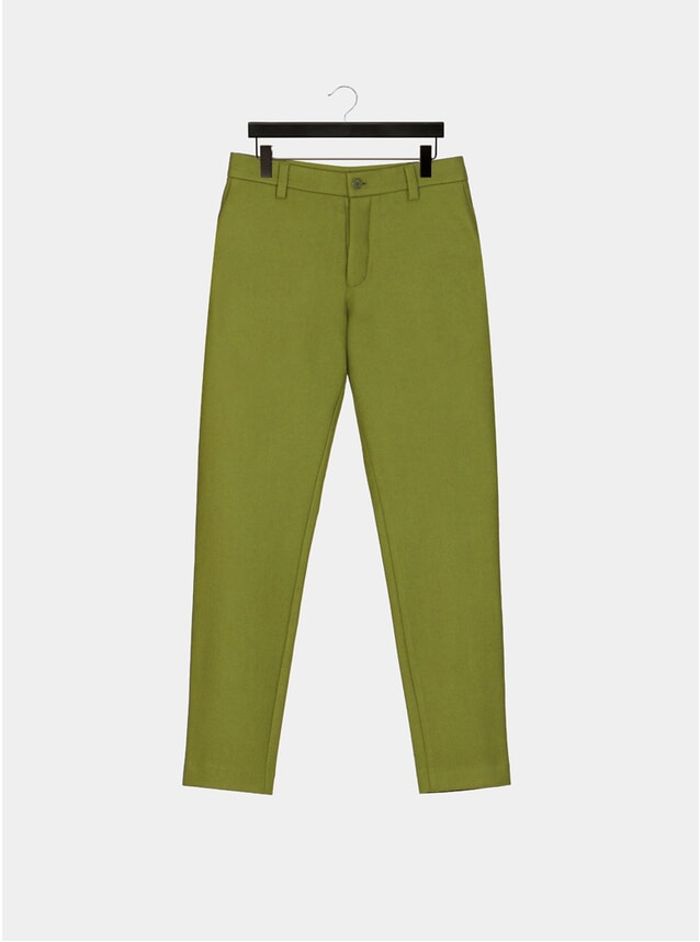 Olive Custom Dyed Wool Trousers