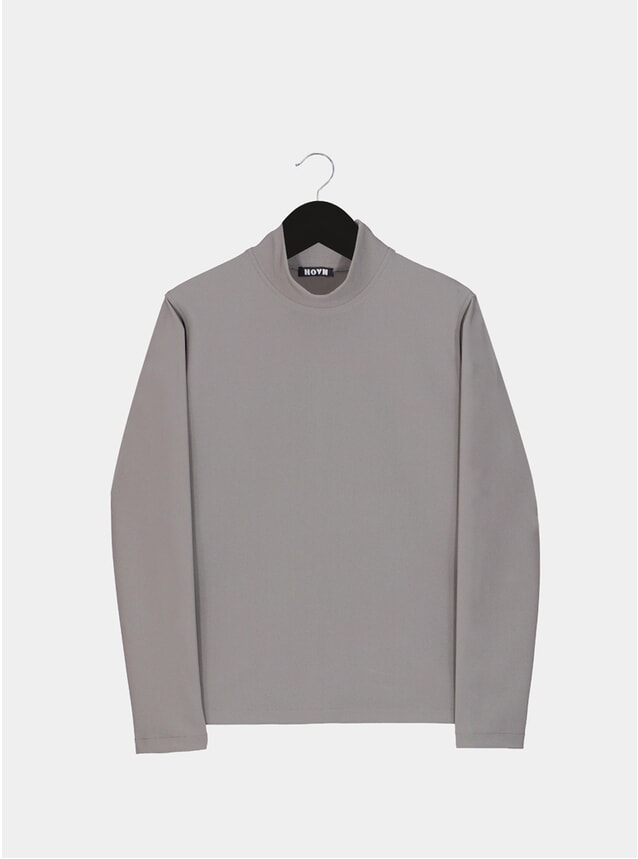 Warm Grey Luxury Funnel - Neck Top