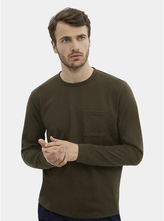 Army Green HW L/S Pocket T Shirt
