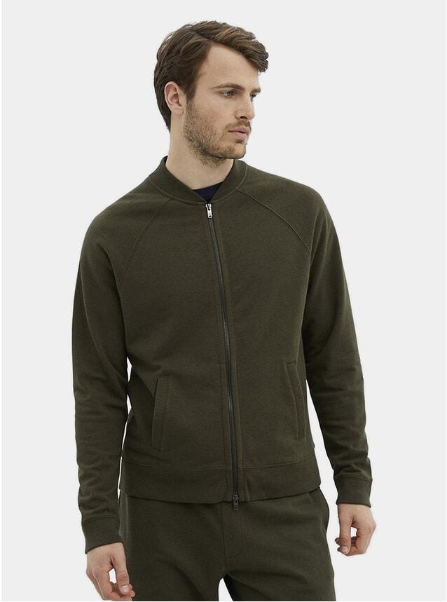 Olive Alpaca & Cotton Bomber Jacket
