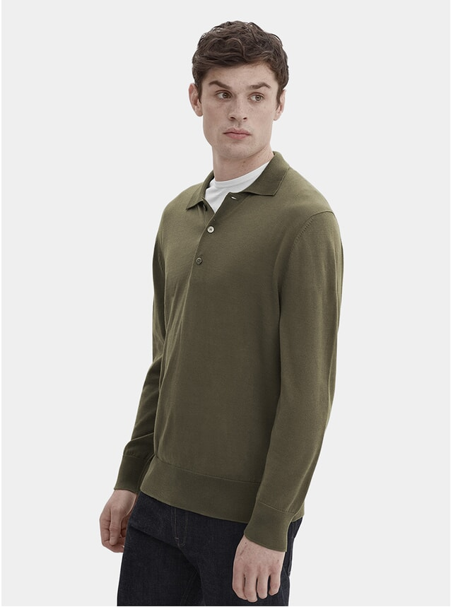 Olive Knit L/S Polo Shirt