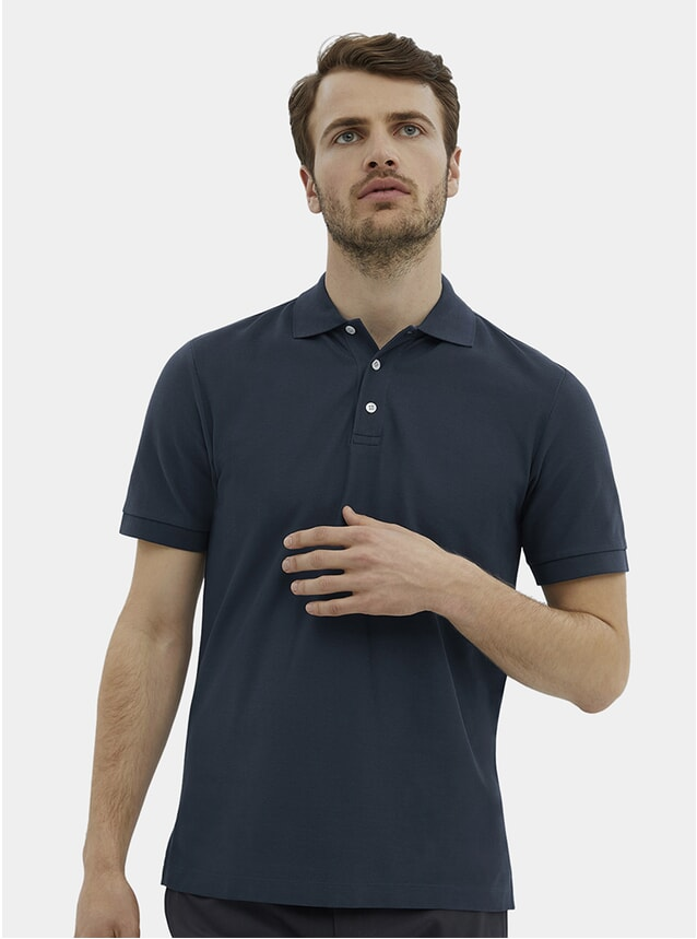 Slate Blue Pique Polo Shirt