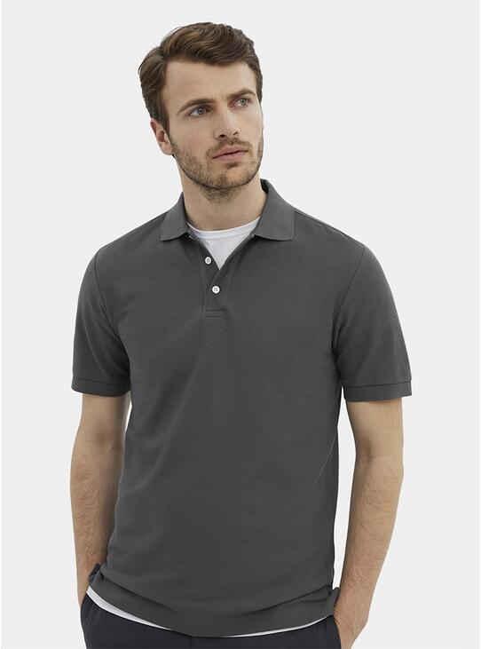 Slate Grey Pique Polo Shirt