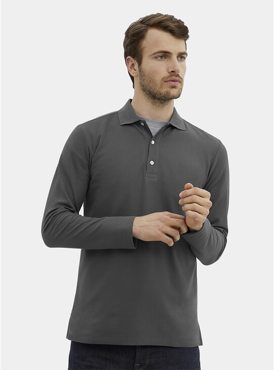 Steel Grey Pique L/S Polo Shirt