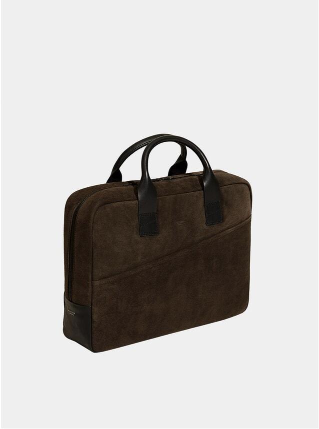Chestnut Brown Suede Briefcase