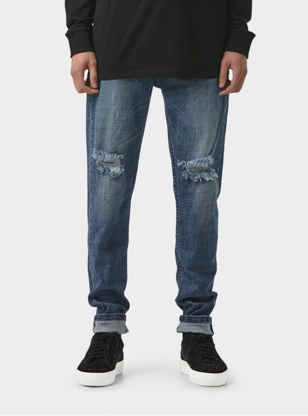 Wrecked Blue Tapered Pant