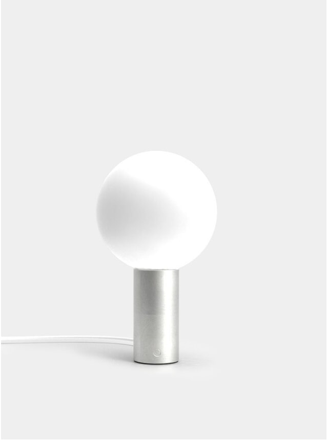 Brushed Steel Orb L Table Lamp