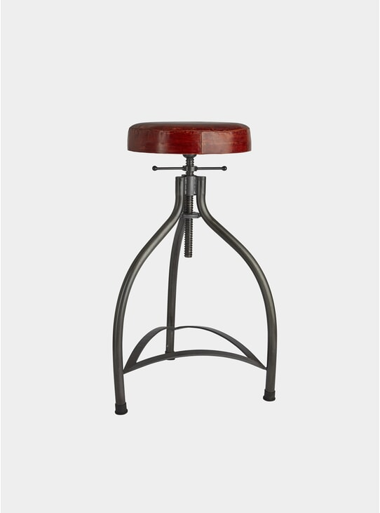 Leather / Metal Cooper Adjustable Bar Stool