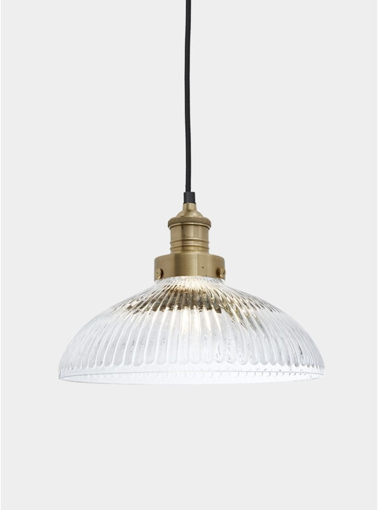 "Ribbed Glass Brooklyn Antique 12"" Dome Pendant"
