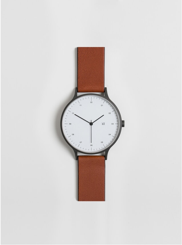01-A Gunmetal / Tan Leather Watch