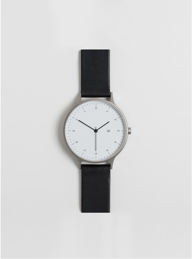 01-C Silver / Black Leather Watch