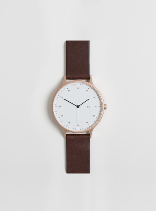 01-B Rose Gold / Brown Leather Watch