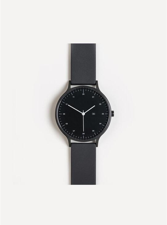 K-100 Black / Black Rubber Watch