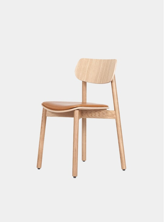 Oak / Cognac Leather Upholstered Otis Dining Chair