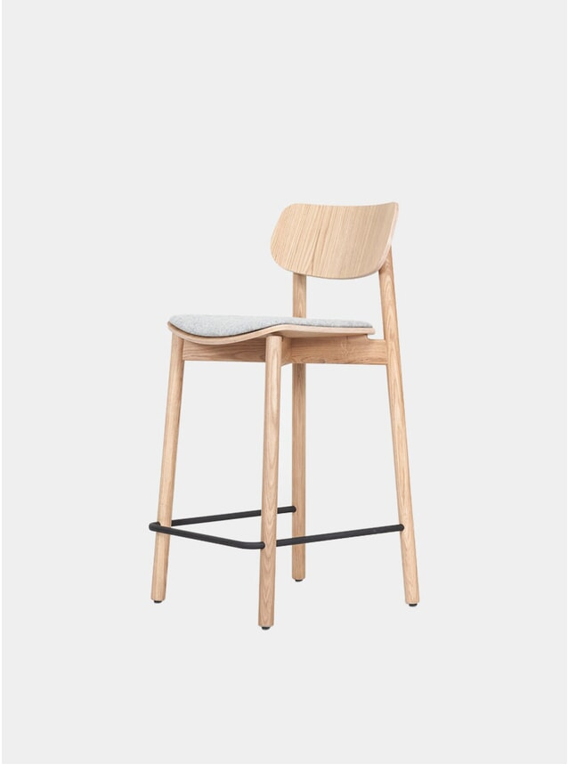 Oak / Grey Wool Upholstered Otis Bar Stool