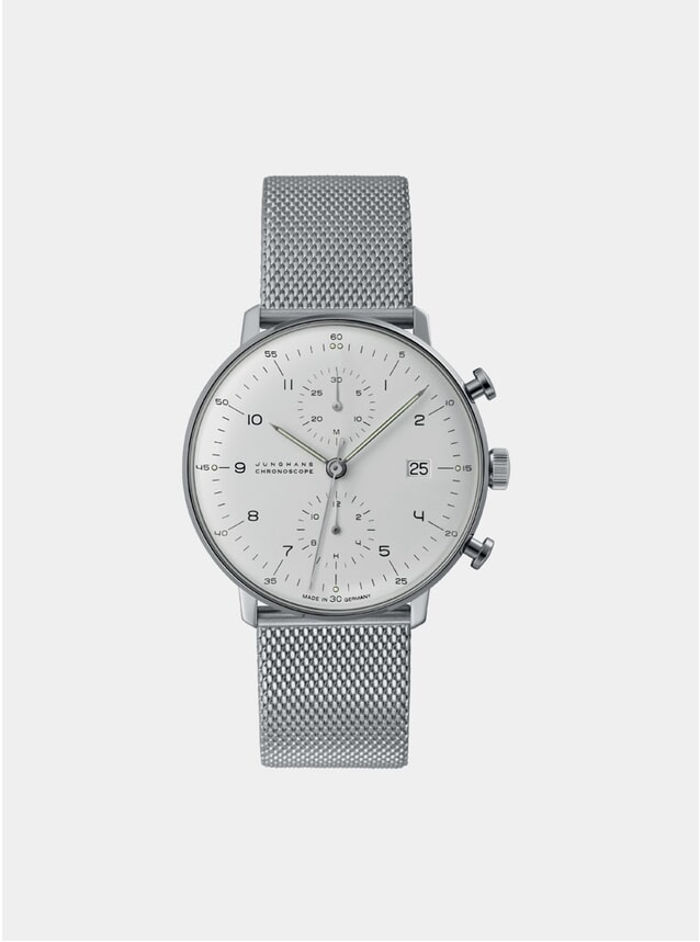 White / Stainelss Steel Max Bill Chronoscope 027/4003.48 Watch
