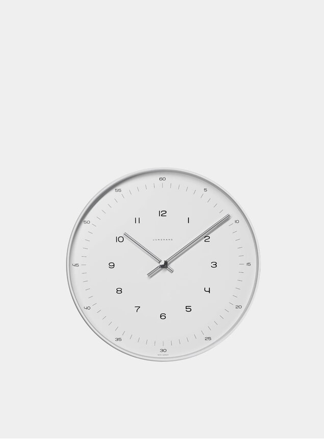 White / Stainless Steel Max Bill 6047 Quartz Wall Clock