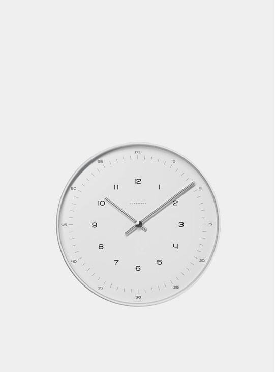 White / Stainless Steel Max Bill 6048 Quartz Wall Clock