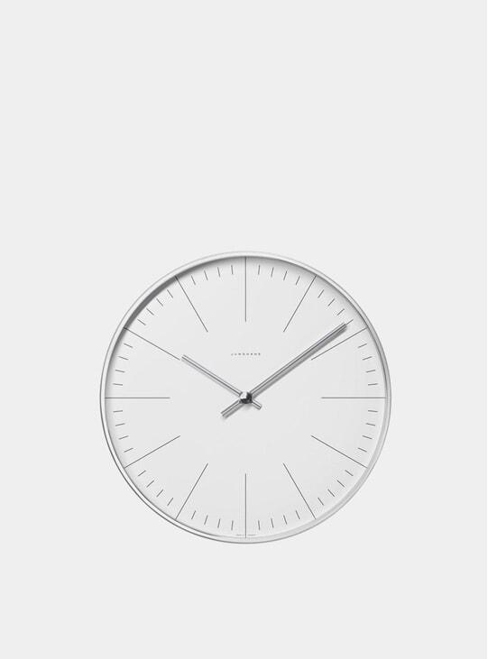 White / Stainless Steel Max Bill 6049 Quartz Wall Clock