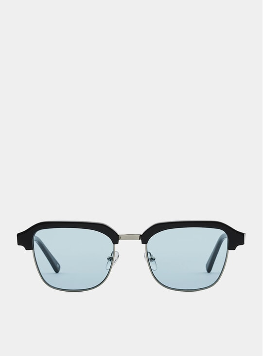Black Metal / Blue Continental Sunglasses