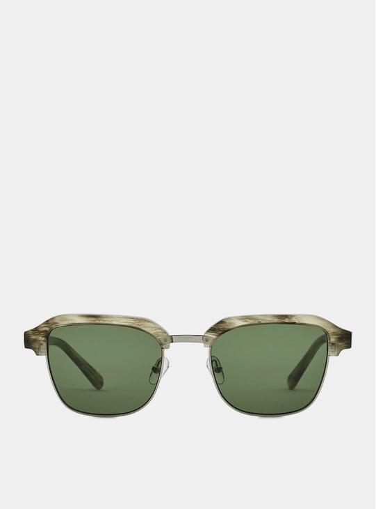 Grey Tiger Metal / Green Continental Sunglasses