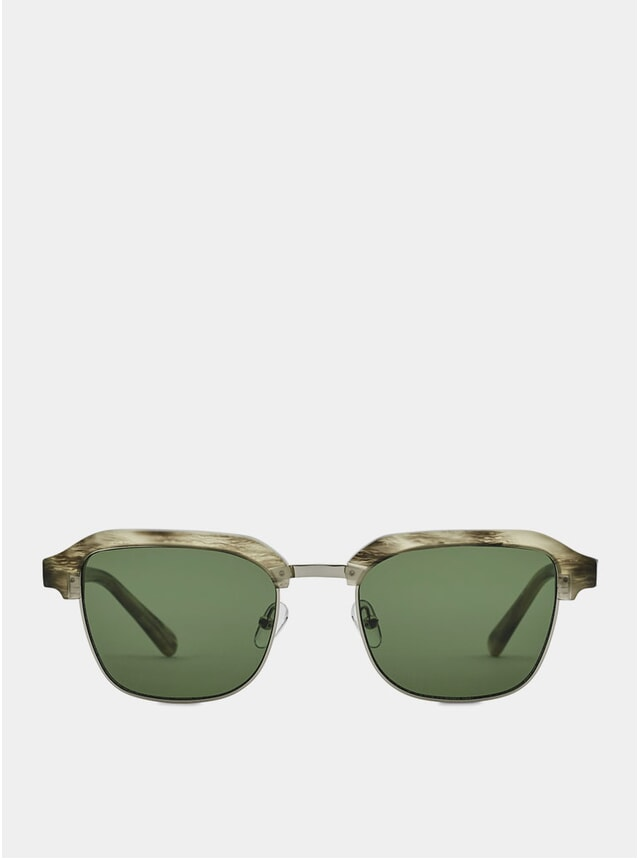 Grey Tiger Metal / Green Continental Sunglasses