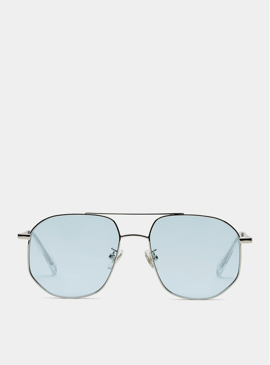 Silver / Blue The Dude Sunglasses