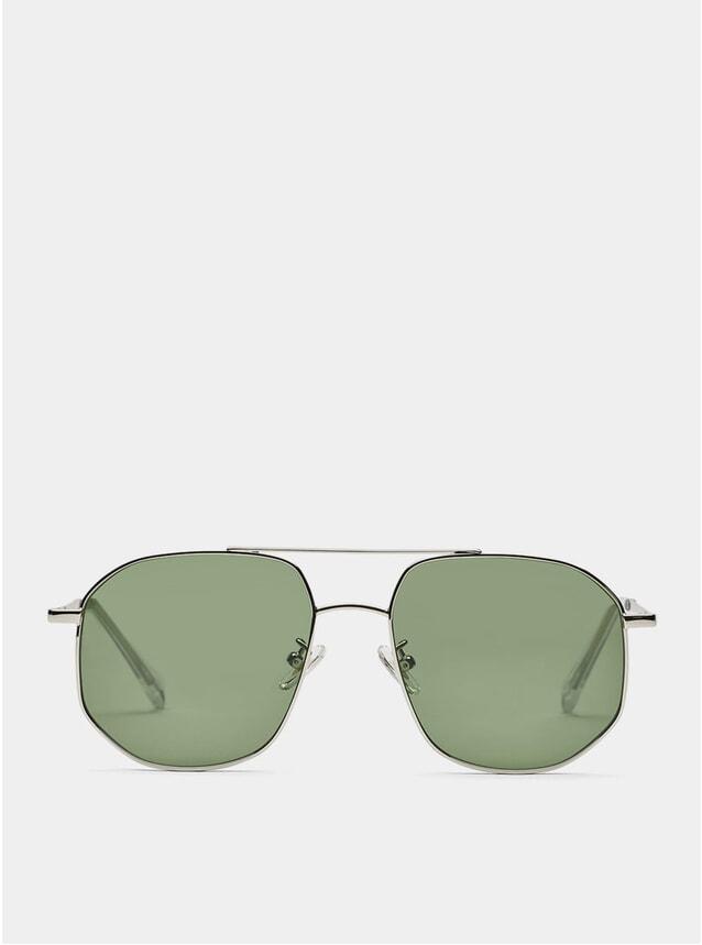 Silver / Green The Dude Sunglasses