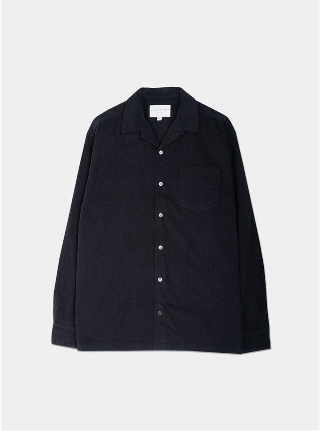 Navy Brushed Cotton Tain Shirt
