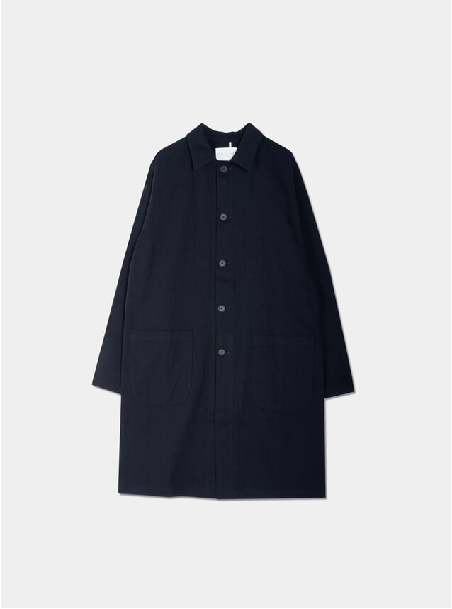 Navy Cotton / Wool Campbell Town Coat