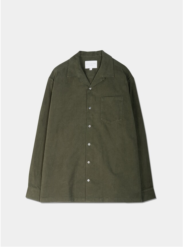 Olive Brushed Cotton Tain Shirt