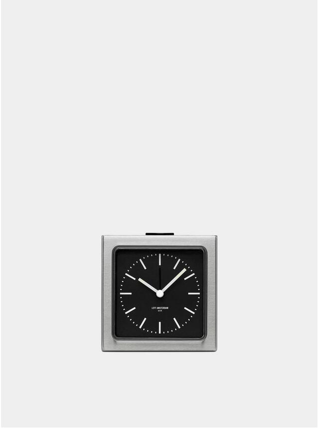 Steel / Black Block Alarm Clock