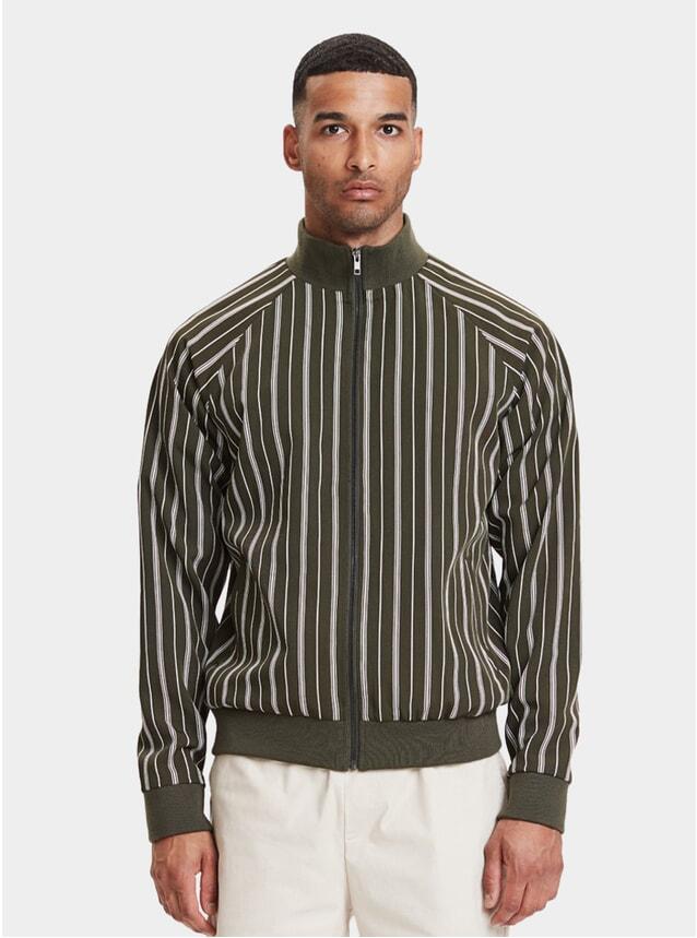 Striped Olive Balboa Track Jacket