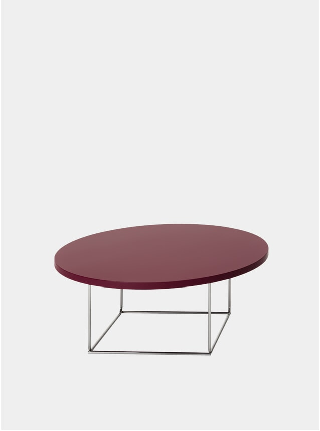 Wine Red / Steel DL3 Umbra Round Side Table