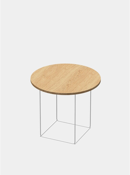 Natural Oak / Powdercoated Tall DL3 Umbra Round Side Table