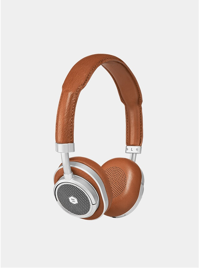 Silver Metal / Brown Leather MW50+ Headphones