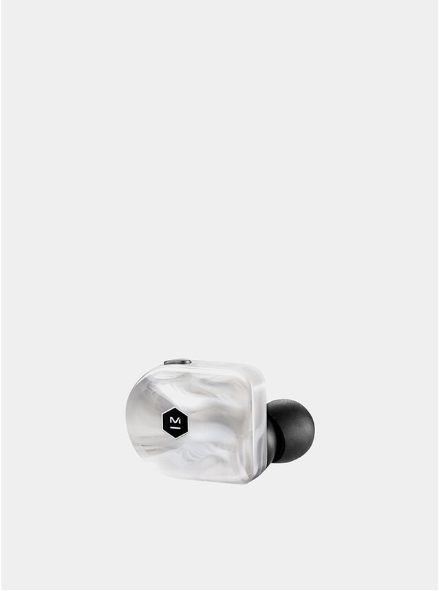 White Marble Acetate Wireless MW07 Earphones