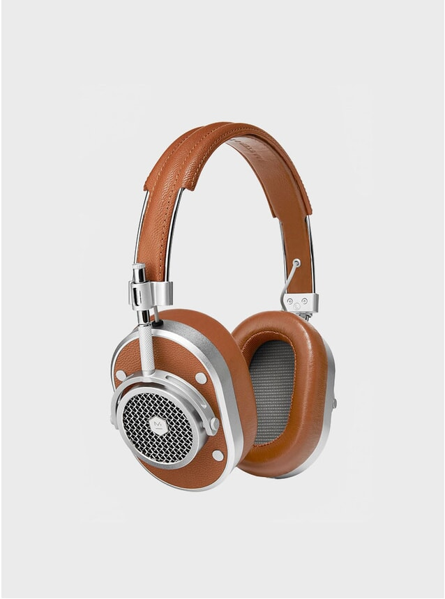 Silver / Brown Leather MH40 Headphones