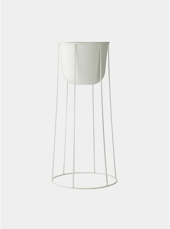 White Large Wire Stand & Plant Pot
