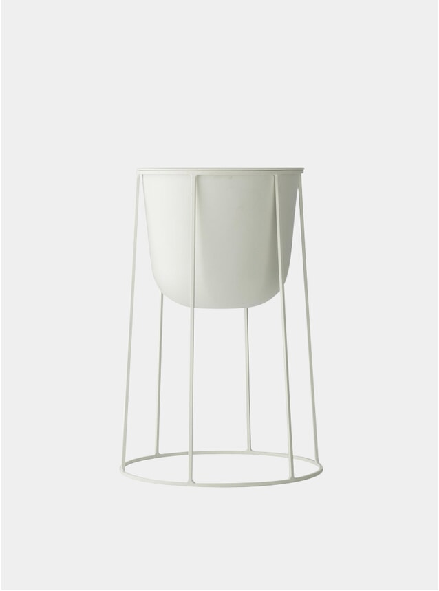 White Medium Wire Stand & Plant Pot