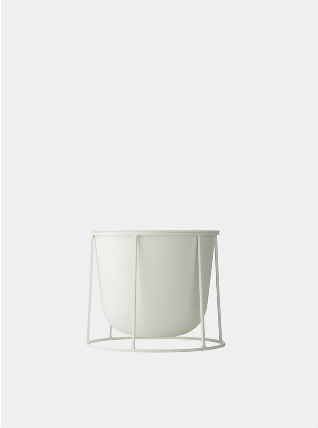 White Small Wire Stand & Plant Pot