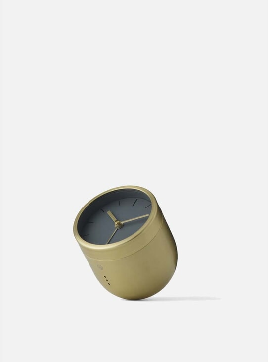 Brushed Brass Norm Tumbler Alarm Clock