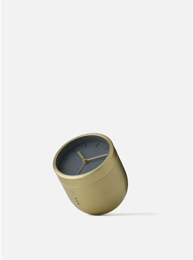Brushed Brass Norm Tumbler Alarm Clock