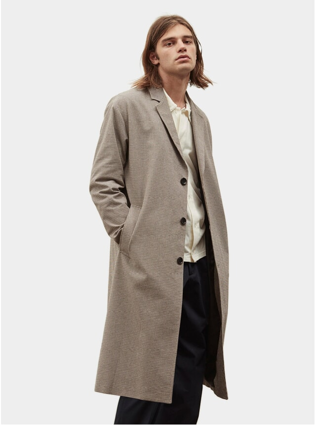 Beige Check Objects Coat